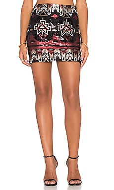 Bobi BLACK Patterned Sequin Skirt in Red & Black
