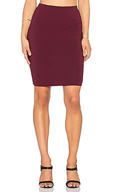 Bobi Cotton Lycra Pencil Skirt in Winery