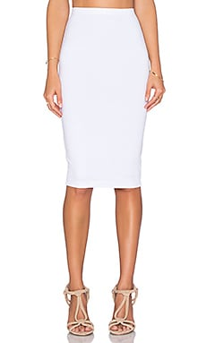 Bobi Heavy Spandex Pencil Skirt in White