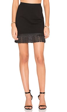 BLACK Double Knit Fringe Mini Skirt in Black