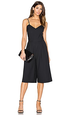 Bobi BLACK Woven Crepe Culottes Jumpsuit in Black