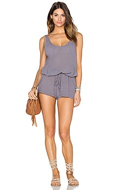 Gauze Tied Waist Romper in Pavement
