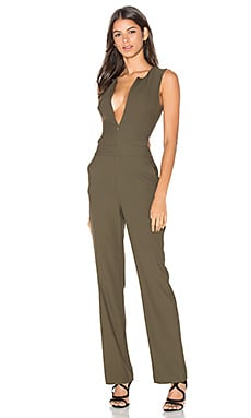 BLACK Woven Crepe Sleeveless Side Cut Out Jumpsuit in Olive