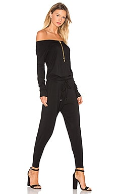 Jersey Long Sleeve Off The Shoulder Jumpsuit in Black