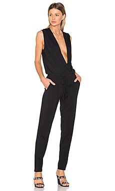Modal Jersey Drape Front Jumpsuit in Black
