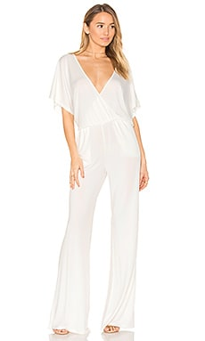 BLACK Luxe Jersey Drape Front Jumpsuit in White
