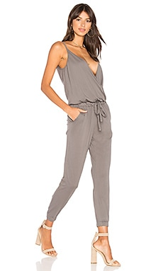 Supreme Jersey Surplice Jumpsuit in Stone