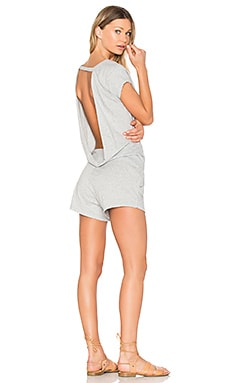 Supreme Jersey Drape Back Romper in Heather Grey