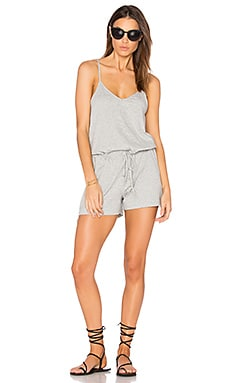 Supreme Jersey Tie Front V Neck Romper in Heather Grey