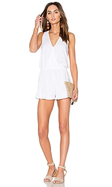 Drape Front Romper in White