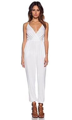 Bobi Modal Jersey Drape Front Jumpsuit in White