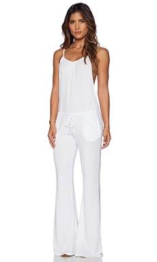 Bobi Modal Jersey Wide Leg Jumpsuit in White