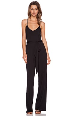 Bobi Modal Jersey V Neck Jumpsuit in Black
