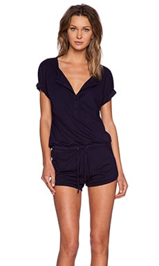 Bobi Supreme Jersey Short Sleeve Romper in Yacht