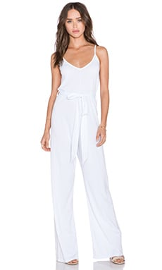 Bobi Modal Jersey V Neck Jumpsuit in White
