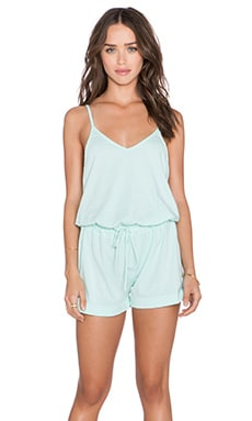Bobi Supreme Jersey V Neck Romper in Bubble Blue