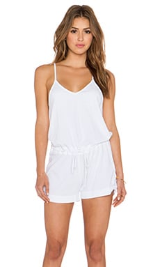 Bobi Supreme Jersey V Neck Romper in White
