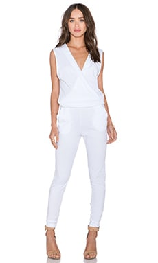 Bobi Supreme Jersey V Neck Jumpsuit in White