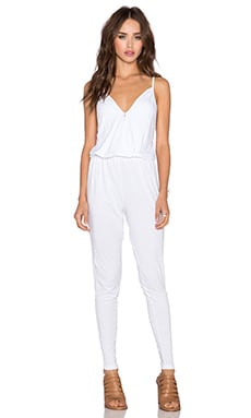 Bobi Modal Jersey Wrap Front Jumpsuit in White