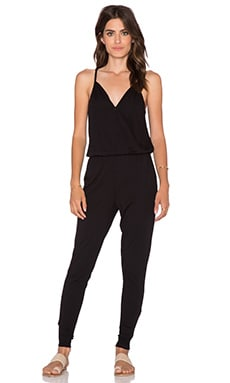 Bobi Modal Jersey Wrap Front Jumpsuit in Black
