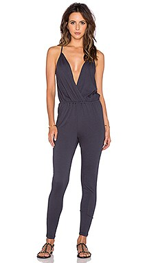 Bobi Modal Jersey Wrap Front Jumpsuit in Dark Cloud