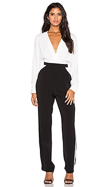 Bobi BLACK Georgette Jumpsuit in White & Black