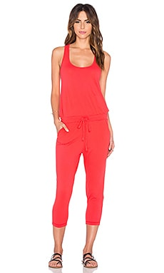 Bobi Supreme Jersey Drawstring Jumpsuit in Retro Red