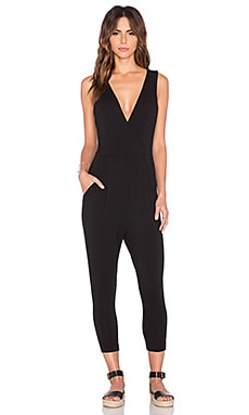 Bobi Relaxed Dress Jersey V-Neck Jumpsuit in Black