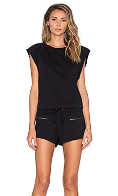 Bobi Lightweight Cashmere Terry Drawstring Romper in Black