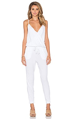 Bobi Supreme Jersey Surplice Jumpsuit in White