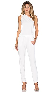 Bobi BLACK Georgette One Shoulder Jumpsuit in White
