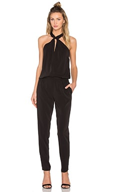 Bobi BLACK Front Keyhole Sleeveless Jumpsuit in Black