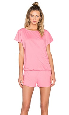 Bobi Supreme Jersey Short Sleeve Open Back Romper in Sweetie Pink