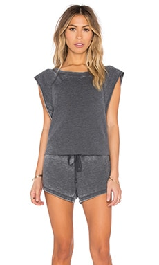 Bobi Burnout Pilled Terry Sleeveless Romper in Black