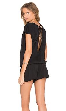 Bobi Supreme Jersey Short Sleeve Open Back Romper in Black