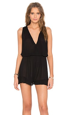 Rayon Gauze Ruffle V Neck Romper in Black