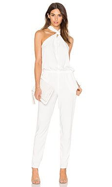 BLACK Front Keyhole Sleeveless Jumpsuit in White