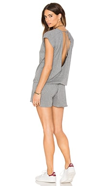 Bobi Supreme Jersey Short Sleeve Open Back Romper in Thunder