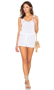 Bobi Gauze Tied Waist Romper in White