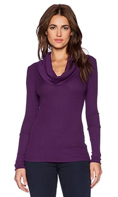 Bobi Thermal Cowl Neck Long Sleeve Tee in Plum