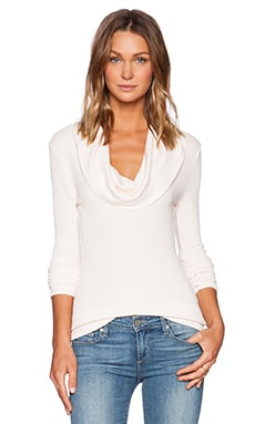 Bobi Modal Thermal Cowl Neck Long Sleeve Tee in Soft Pink