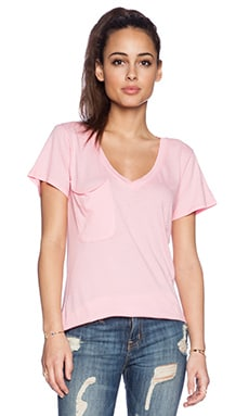 Bobi Light Weight Jersey V Neck Pocket Tee in Bunny Pink