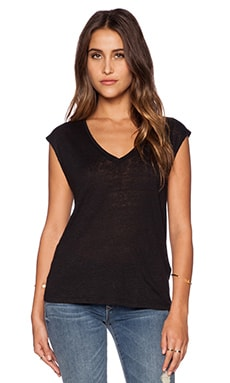 Bobi Solid Linen V Neck Tank in Black