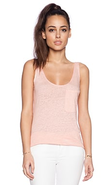 Bobi Solid Linen Pocket Tank in Peachy
