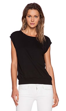 Bobi Light Weight Cashmere Terry Tee in Black