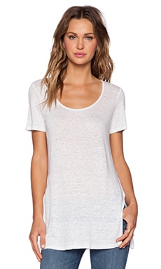 Bobi Solid Linen Short Sleeve Tee in White