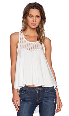 Bobi Pima Cotton w/ Perforated Trim High Low Tank in White