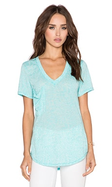 Bobi Burnout V Neck Pocket Tee in Dive