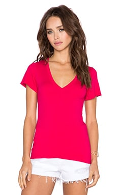 Bobi Pima Cotton V Neck Tee in Strawberry