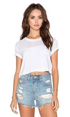 Bobi Pima Netting Crop Top in White